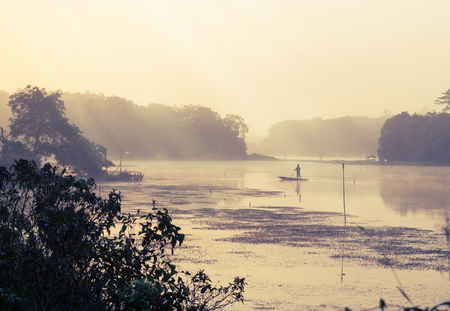 vintage landscape: Vintage landscape nature and river background, River with fog in morning light Stock Photo