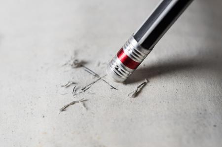 Eraser and error concept, Black pencil with eraser, Mistake erase concept