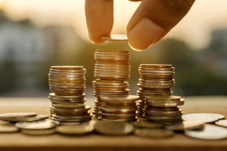 Saving money and account finance bank business concept