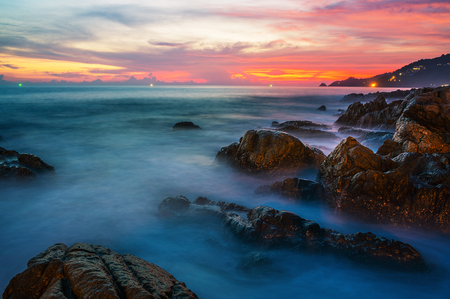 Sea sunset or sunrise with colorful of sky and cloud with sunlight in twilight Stock Photo
