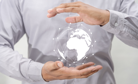 Networking people global business concept, Earth circle virtual in hand business man on blurred background