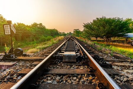 Railroad and railway train transportation with color of sky sunlight in forest background