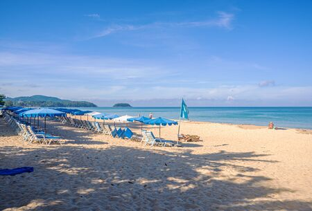 Beach with white sand and blue sea and blue sky and white cloud sunny in holiday summer season Imagens