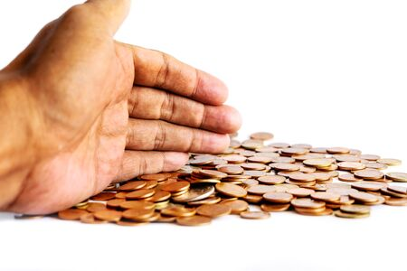 Save money and account banking for finance business concept, Hand with coin money on white background, Savings for retirement and investing concept