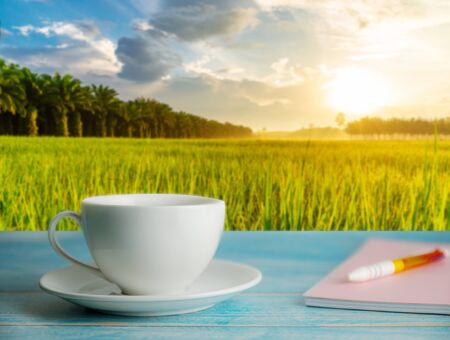 A cup of coffee and notebook with blurred rice field rural with colorful of sky in morning light, Relaxation and remember concept