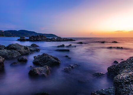 Seascape landscape nature with sky and cloud with sunlight in twilight Stock Photo