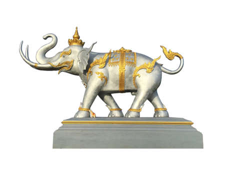 Elephant statue, isolated on white background, Public in thailand