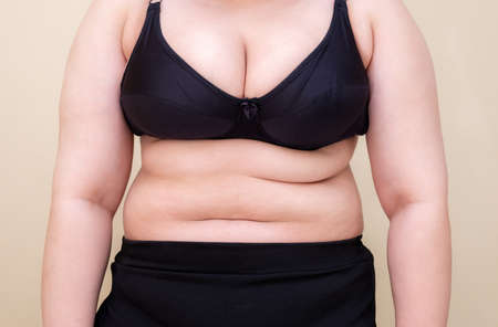 Fat woman., Shape up healthy stomach muscle, and diet lifestyle, to reduce belly concept.