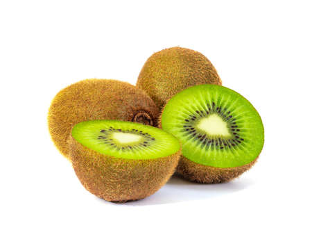 Kiwi fruit and slice isolated on white background