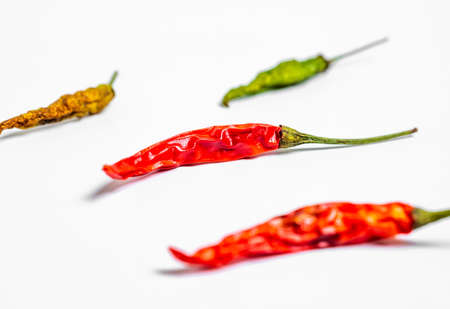 Hot chilli pepper on white background. Chilli pepper, Macro, Selective focus 免版税图像
