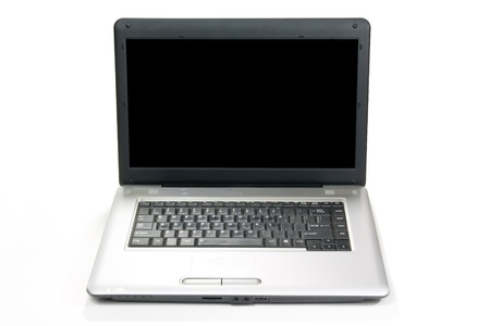 a silver laptop isolated on a white background