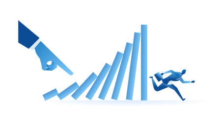 businessman run from domino effect mean he run from work pressure / being chased by the marketing target concept flat illustration Business about hard work and pressure for presentation