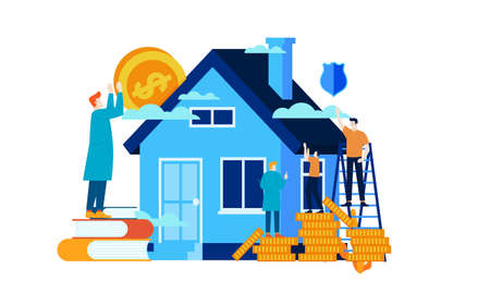 hard work manage finances save for future investment to buy a house vector illustration concept template background can be use for presentation web banner UI UX landing page