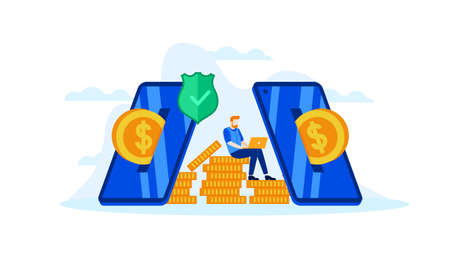 manage finances save for future investment with mobile banking saving online vector illustration concept template background can be use for presentation web banner UI UX landing page