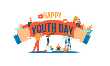 happy youth day big word with small people vector illustration concept template background can be use for presentation web banner UI UX landing page