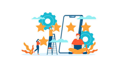 Mobile App Star Review rating people give feedback flat illustration