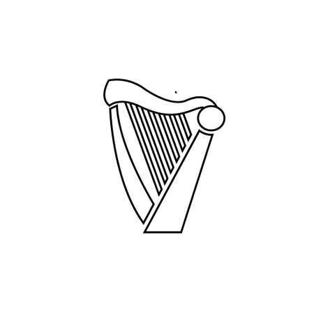 beautiful luxury classic harp line outline vector icon flat design isolated background