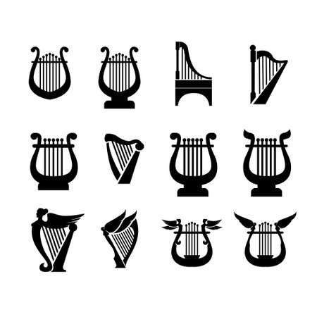 set collection luxury classic lyre harp type and shape vector icon flat design isolated background