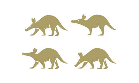 set collection gold aardvark animal black logo icon design vector