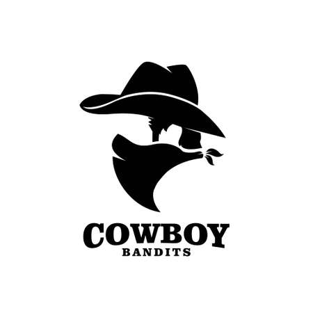 american Western Bandit Wild West Cowboy Gangster with Bandana Scarf Mask Logo illustration