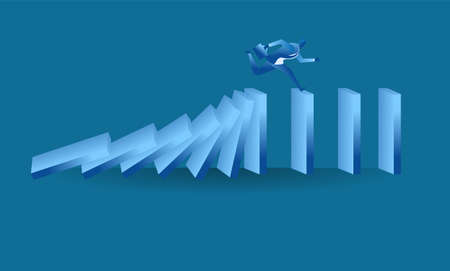 businessman run from domino effect mean he run from work pressure or avoid business hurdles concept flat illustration Business about hard work, pressure and challenge for presentation