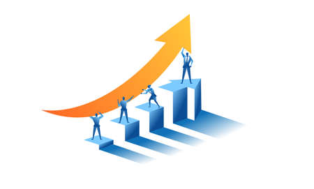 someone raised the arrow up concept illustration about hard work sales to raise profit, increase revenue and achieve desired targets for presentation web banner UI UX landing page Vecteurs