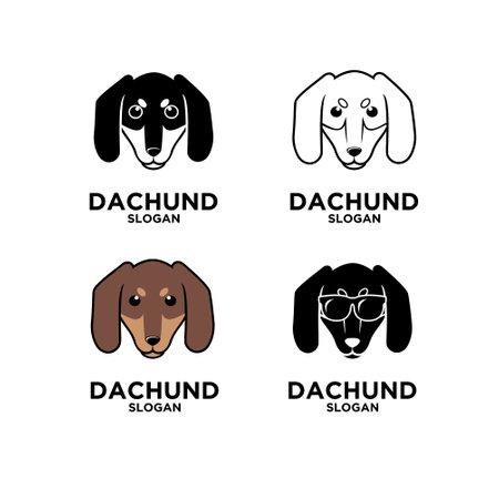 Dachshund head dog logo design flat illustration icon