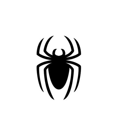 abstract spider logo icon black design initial flat illustration
