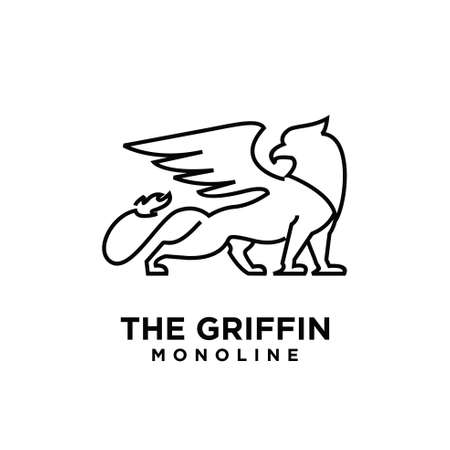 premium black minimal Griffin Mythical Creature Emblem mascot Line Vector Design Logo flat