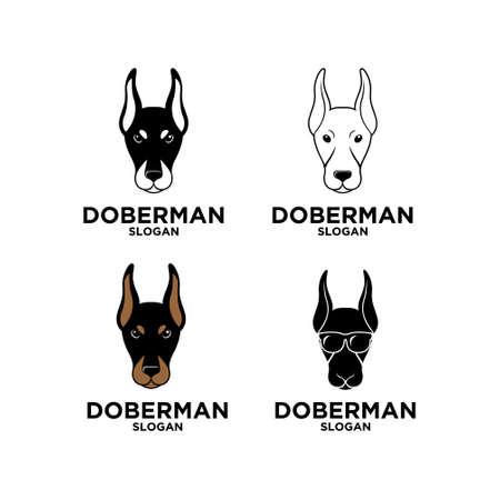 set collection doberman dog head vector logo icon illustration design isolated background Logo