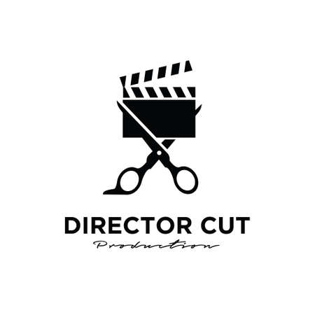 Director cut behind the scene editing Studio Movie Video Cinema Cinematography Film Production scissors that cut the film strip logo design vector icon illustration Isolated White Background