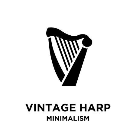 beautiful luxury classic harp vector icon flat illustration design isolated background