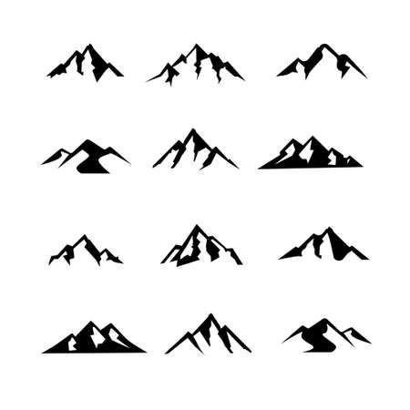 set collection simple Mountain black vector logo icon illustration design isolated background