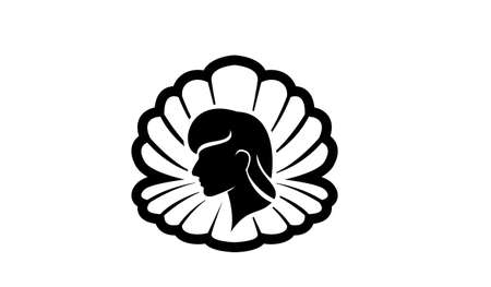 simple Pearl shell beauty face silhouette black vector logo icon design flat illustration isolated background