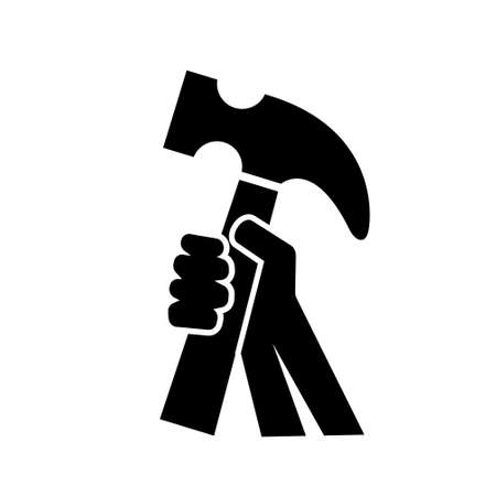 Hand Holding Hammer for Construction or craftsman vector Icon Logo Design illustration isolated white background Logo