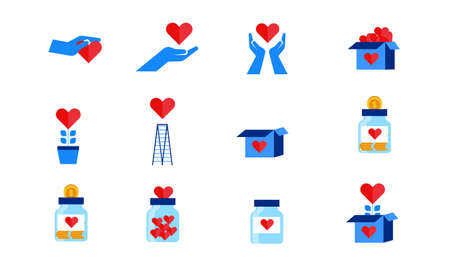 set collection humanity donation hands, big heart and coin flat icon illustration design 矢量图片