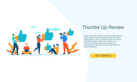 Thumbs up review people give feedback vector illustration concept template background can be use for presentation web banner UI UX landing page