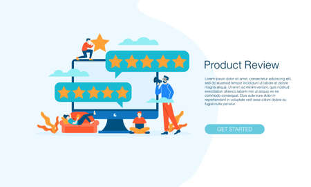 Computer internet Star Review Rating feedback customer vector illustration concept template background can be use for presentation web banner UI UX landing page