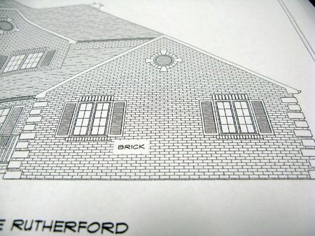 front right elevation of a home architectural plan