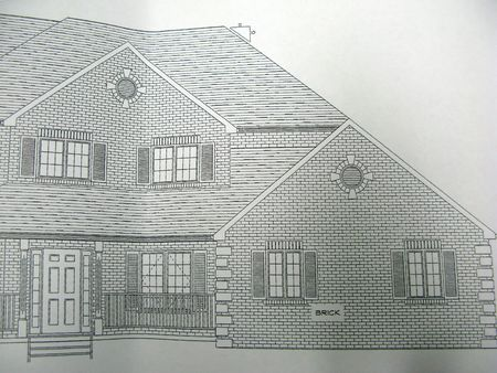 front elevation: front elevation of an archictectural house plan Stock Photo
