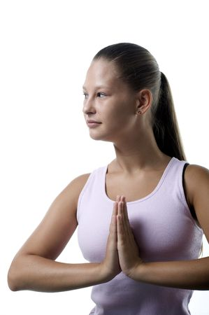 profile of woman doing her yoga exercises Stock Photo - 3274051