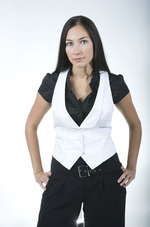 brunettes posing at office in business wear