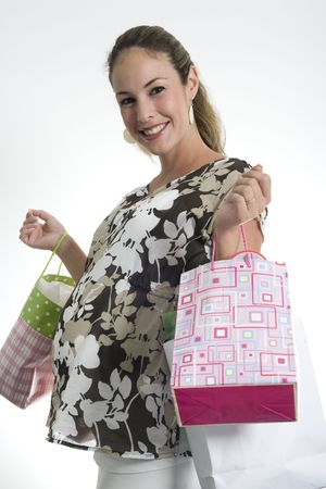 pregnant woman at a  shower with friend and gifts Stock Photo - 3322003