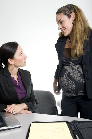 work: brunette women working in business suit at office