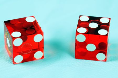 two red casino dice Stockfoto