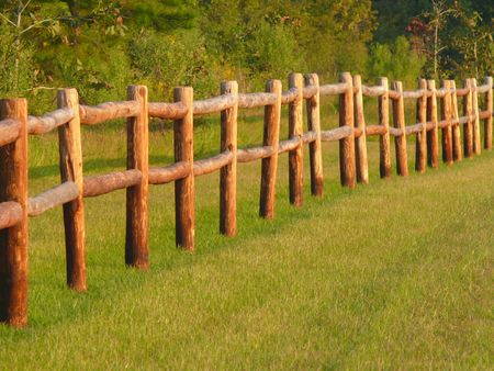 picket green: country wood picket fence wth green grass