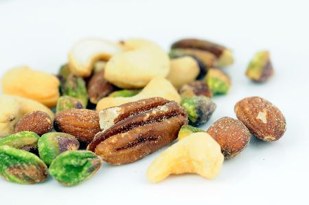 various mixed nuts on plate