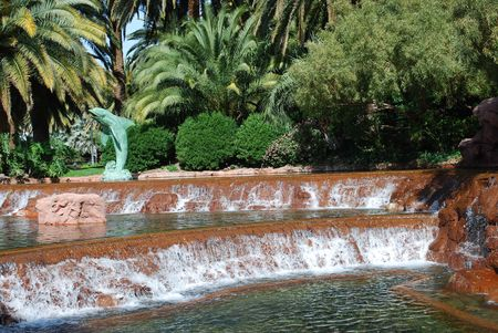 landscaping and waterfalls in a resort garden Stock Photo - 4762504