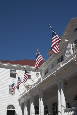 White Building with Flags
