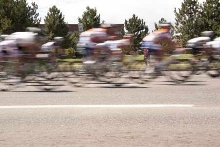 Blurred Cyclists Passing